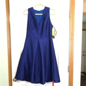 Cocktail Royal Blue v neck Dress